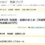 2018年8月 当選数・金額のまとめ【当選数84回、当選額28万円】